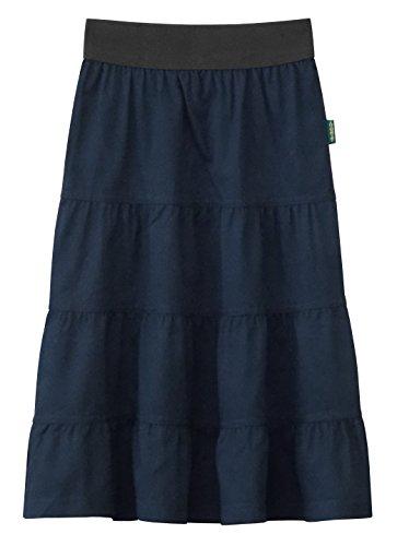 Baby'O Girl's Lightweight 4 Tiered Cotton Twill Below The Knee Skirt, blue, (Tiered Prairie Skirt)
