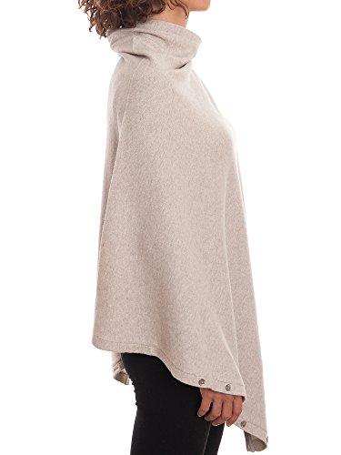 Dalle Piane Cashmere - Poncho con botones de mezcla de cachemira para mujer Beige