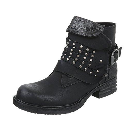 Western et femme Design amp; Bikerbottes Ital Bloc Bottes Chaussures Noir bottines wqXdEUxc1