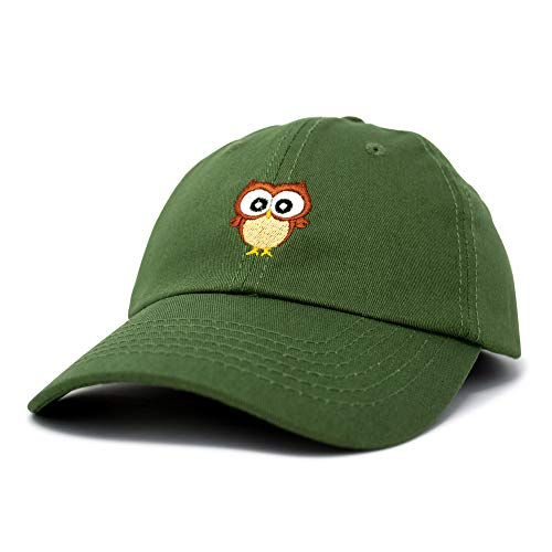 Cute Owl Hat Cotton Baseball Cap in Olive