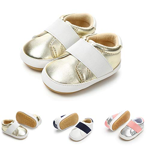 Tuoting Baby Shoes First Walking Shoes Boys Girls Infant Sneakers Rubber Sole Non-Slip Toddler Shoes (12-18 Months, Gold)
