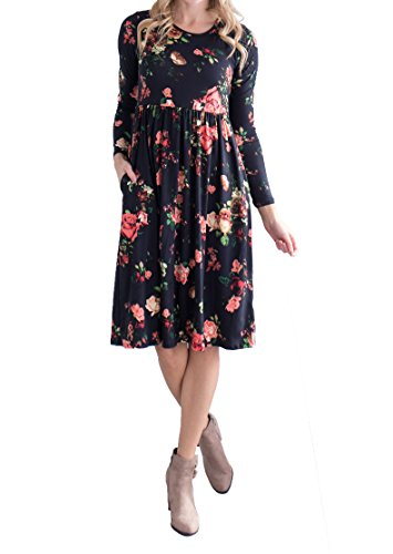 Mafulus Womens Floral Casual Dresses Long Sleeve Crew Neck Swing Midi Dress with Pockets
