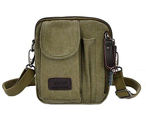 Genda 2Archer Canvas Crossbody Shoulder Messenger Bag Handbag (Army Green)
