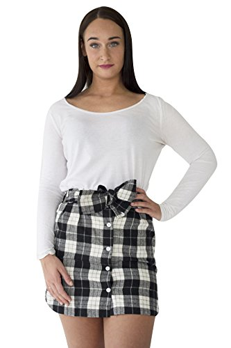 Black And White Gingham Bow (ROMWE Women's Gingham Buffalo Plaid Bow Belt Soft Flannel Button Down Mini Skirt (Small, Black/White))