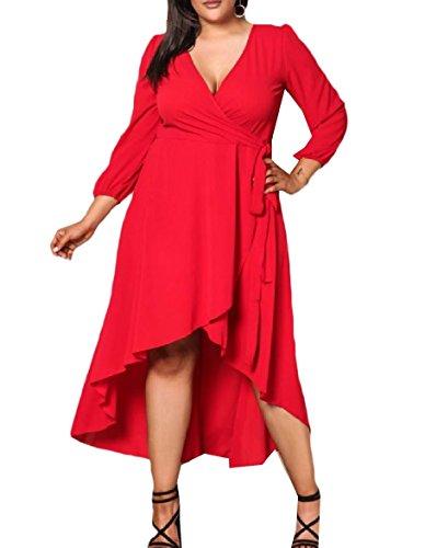 Partito Tunica Scollo Per Con Abito Di Indossare Alta Rossa Dimensioni V Coolred A donne Grandi L'ufficio Di Bassa xw14ZqZ5