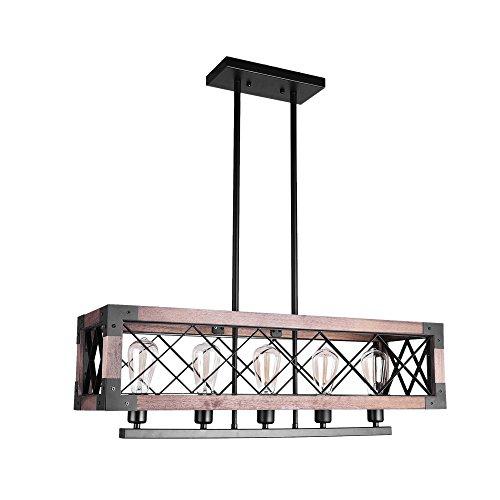 ier Rectangular Pendant Ceiling Light Chandelier Kitchen Island Lighting 5-Light Farmhouse Hanging Light Fixture (Five Light Island Chandelier)