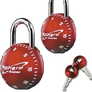 Master Lock 2076DAST Sphero Combination Locks with Key Access in Red 2 locks - Open both locks same combination - same key - Sphero Master Lock Combination