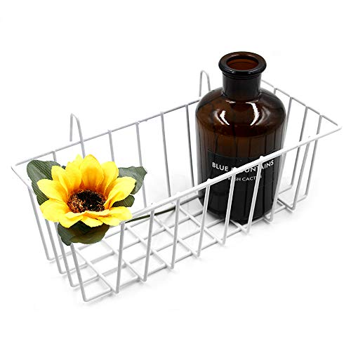 Gridwall Mesh - ANZOME Grid Basket, Wire Wall Basket with Hook, Wall Mount Organizer for Grid Panel, Wire Storage Shelf Rack for Home Supplies, Wall Decor(White)