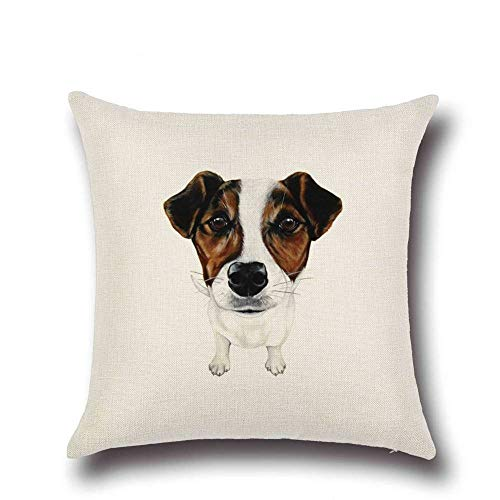 SPXUBZ Cartoon Dog Jack Russell Terrier Decor Animal Printed Flax Throw Pillow Cover Home Decor Nice Gift Square Indoor Linen Pillowcase Standar Size (Two Sides)