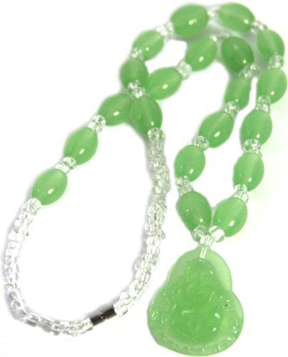 Green Buddha Pendant Necklace, Meditation, Tibetan Buddhist, Happy Buddha Amulet (Jade Happy Buddha Pendant)