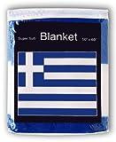 Greek Flag Fleece Blanket 5 ft x 4%2E2 f...