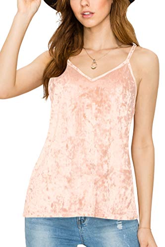 (LL WT2128 Women's Casual Basic Strappy Velvet V Neck Cami Tank Top XL Blush)