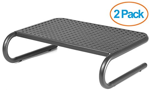 Halter LZ-309 Vented Metal Monitor Stand / Monitor Riser ( 2 Pack - Black )