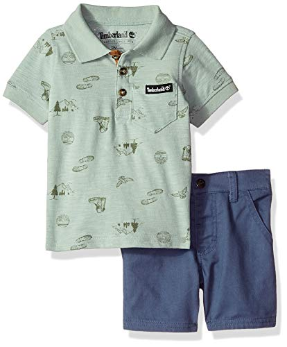 Timberland Baby Boys 2 Pieces Polo Shorts Set, Green, 6-9 Months