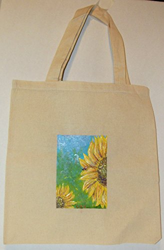 Hand Painted Sunflower Organic Cotton Tote Bag