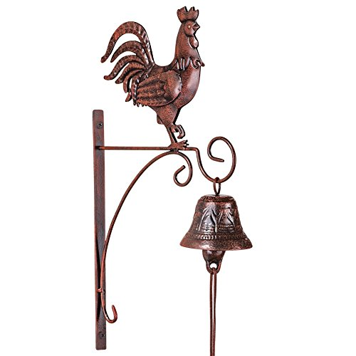 Country Rooster Dinner Bell Wall Decor, Iron