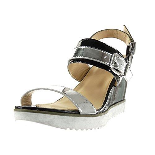 Angkorly - Chaussure Mode Sandale Mule semelle basket lanière cheville femme brillant boucle Talon compensé plateforme 9 CM - Noir