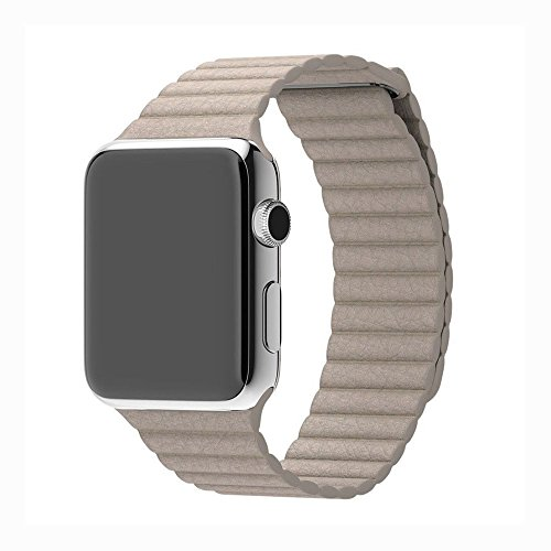 Biege Leather (Smart Watch Replacement Band Straps 38mm/ 42mm Compatible For iWatch, Leather Magnetic Loop for Smart Watch Series 1 and 2 (Biege magnetic loop 38mm))