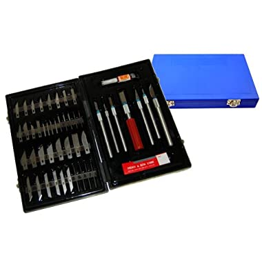 TCP Global® Deluxe Cutting Knife SET with Case Similar to Exacto - 56 Piece Precision Hobby Knife Set