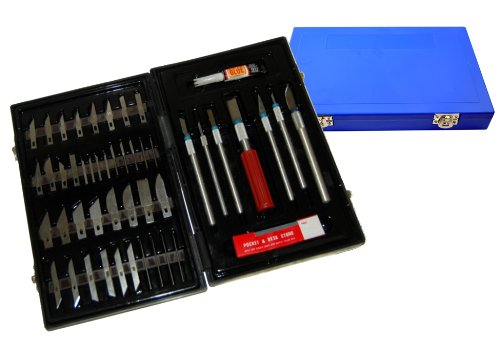 TCP Global Deluxe Cutting Knife SET with Case Similar to Exacto - 56 Piece Precision Hobby Knife ()