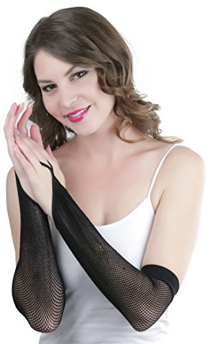 ToBeInStyle Women's Fishnet 100% Nylon Finger Loop Arm Length Warmers - Black -