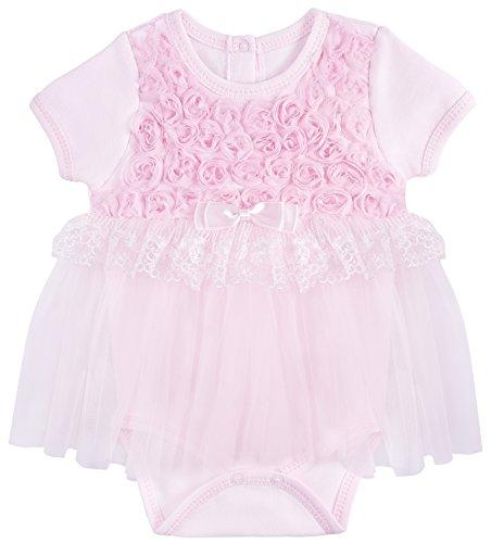 T.F. Taffy Taffy Baby Girl Newborn Rosette Lace Detail Short Sleeve Unique Tutu Bodysuit 6-9M (Rosette Tutu)