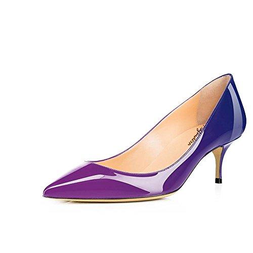 Chaussures à bleu Talon Violet centimètres Aiguille Chaussures Bout Pointu Pompes 5 Cuir Robe 6 en soirée Maguidern Bureau de de Verni wtqZRczaHW