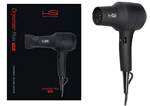 HSI Dryonizer Max Turbo Ceramic Blow Dryer | 40% Quicker Drying, Easy Holding, Professional Quality | Includes 2 Airflow Nozzles, HSI Style Guide, 1 Year Warranty, & 5ml Argan Oil Leave-In Treatment (Blow Dryer Oil)