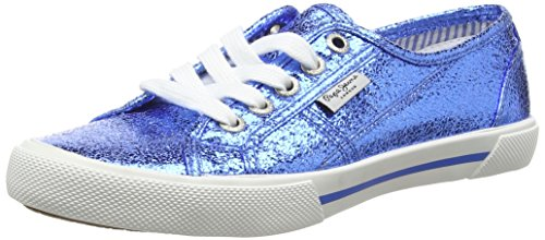 Pepe Jeans London Damen Aberlady Metal Sneakers Blau (552REGAL BLUE)