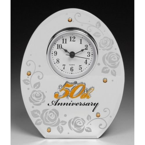 50th Wedding Anniversary Mirror Mantel Clock Shudehill JD 17853