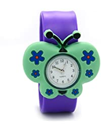 Lovely Top Boys Girls Fashion Cartoon Animal Silicone Slap Snap On Wrist Watch - Purple Butterfly