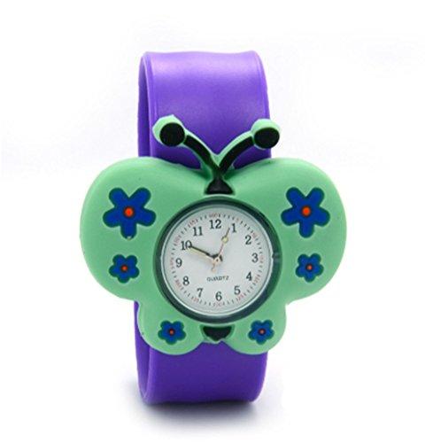 Vavna Lovely Top Boys Girls Fashion Cartoon Animal Silicone Slap Snap On Wrist Watch - Purple Butterfly
