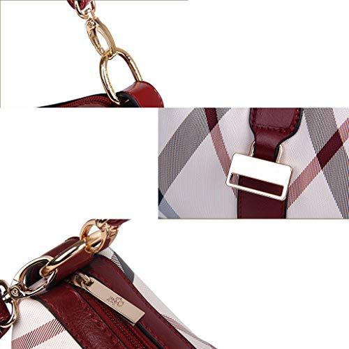Da A colore Donna Tendenza Giallo Vino Tracolla Borsa Rosso Moda Righe Poliestere In Alla Sheng Con 7FvUxv