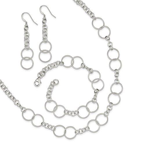 Fancy Dangle Bracelet - 925 Sterling Silver Chain Necklace Bracelet Earrings Set Contemporary Fancy Drop Dangle Pendant Charm Fine Jewelry For Women Gift Set