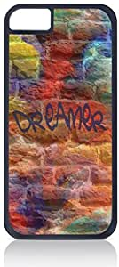 Dreamer-Colorful Graffiti Wall-Art- Case for the Apple Iphone 5-5s Universal- Hard Black Plastic with Inner Soft Black Rubber Lining-Snap On Case
