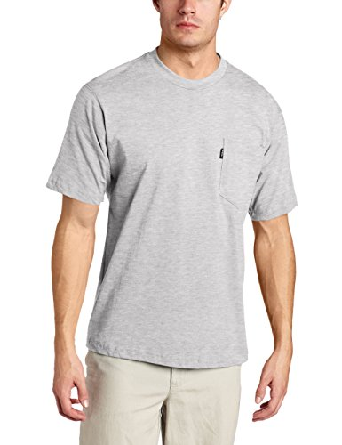 Key Apparel Men's Big-Tall Short Sleeve Heavyweight Pocket Tee Shirt, Heather Grey, - Apparel Tees