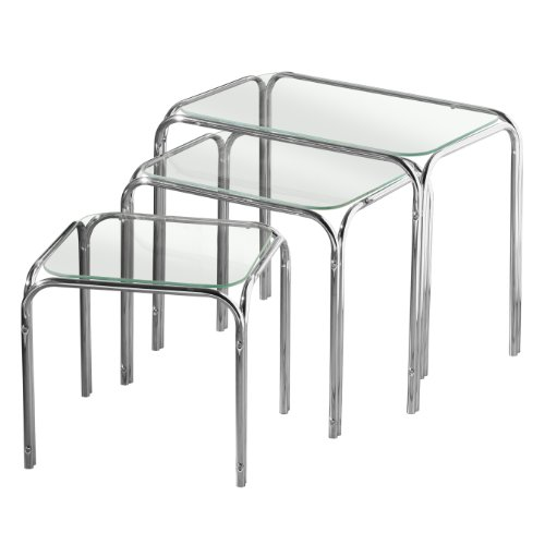 Premier Housewares Nest of Tables with Glass Top and Chrome Legs, 39 x 46 x 30 cm - Set of 3