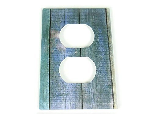 Outlet Lightswitch Plate Faux Blue Barnwood (282O)