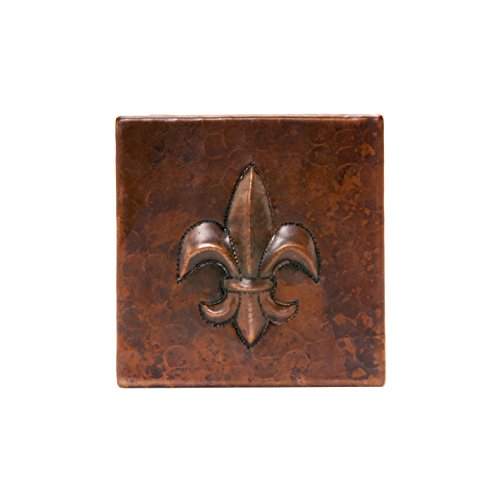 (Premier Copper Products T4DBF_PKG4 4-Inch by 4-Inch Hammered Copper Fleur De Lis Tile - Quantity 4, Oil Rubbed Bronze )