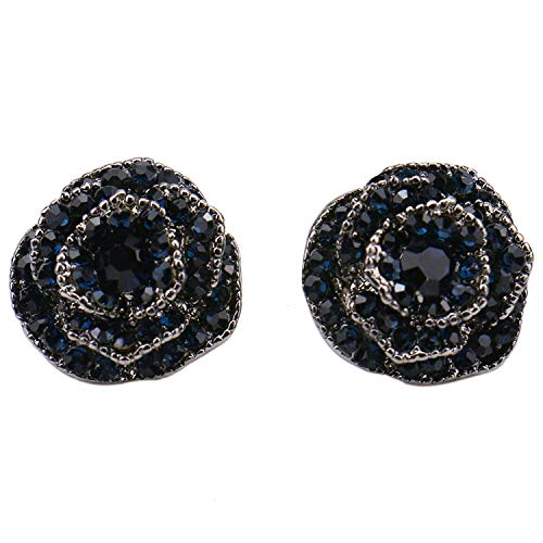 JETEHO Rose Flower Earring for Women, Silver Plated Belle Tiny Earring Black Blue Crystal Fashion Enchanted Stud Earrings Gift for Parties Supples