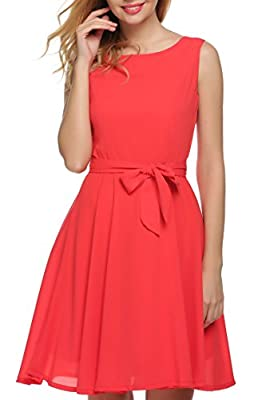 Zeagoo Women Chiffon Summer Sleeveless A-line Pleated Party Cocktail Dress With Belt