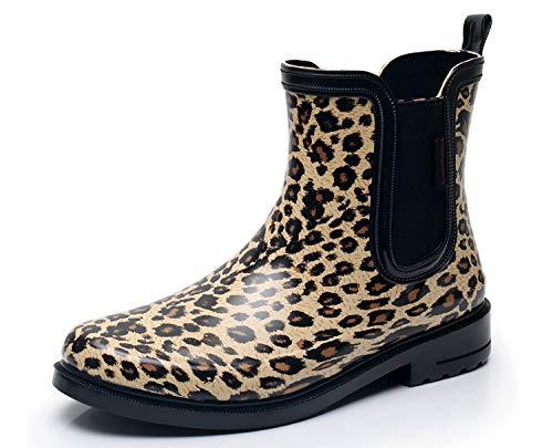 (SOLARRAIN Women's Elastic Short Ankle Rubber Rain Boots Non Slip Waterproof Insulated Leopard Print Rain Shoes (9M US, Brown))