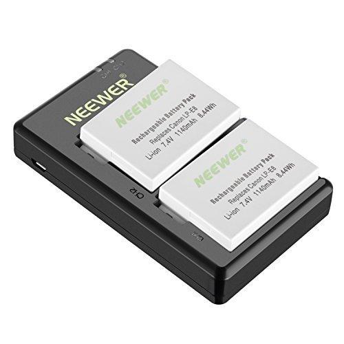 Neewer LP-E8batería recargable juego de carga de repuesto para Canon (Pack de 21140mAh cámara baterías y cargador...