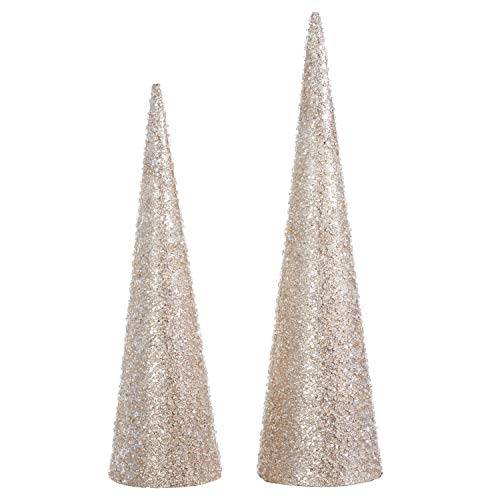 Raz 20 Inch and 24 Inch High Iced and Glittered Champagne Gold Christmas Cone Trees Set of 2 ()