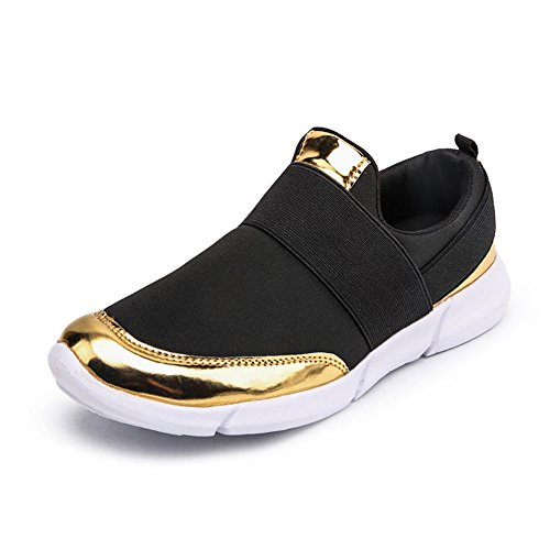 thable Summer Slip On Walking Shoes Athletic Lightweight Ladies Fashion Sneakers Black/Gold 8.5 B(M) ()
