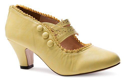 Chase & Chloe Womens Mina4 Closed Toe Mary Jane High Heel Shoes,Yellow,6 (Dorsay Style T-strap Pump Shoes)