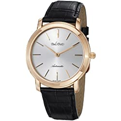Paul Picot Fireshire Extra Flat 8810 Automatic Silver Dial Black Leather Mens Watch P3754.RG.7604