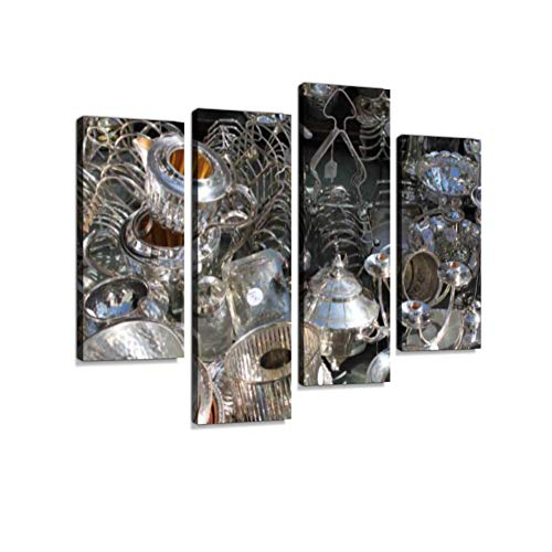 Silverware stall in Portobello Road Canvas Wall Art Hanging Paintings Modern Artwork Abstract Picture Prints Home Decoration Gift Unique Designed Framed 4 Panel