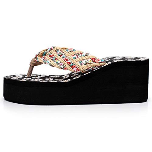 Sandalias Zapatos Con Mocasines Moda Cuña Verano Mujer Baño Beige Chanclas Calzados Estampado Casual De Playa Sunnsean Flores qOw6vHf