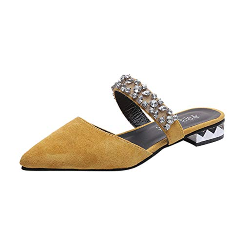 (Sunhusing Women's Pointed Toe Solid Color Rhinestone Sandals Square Root Half-Slip Slippers Single Shoes Yellow)